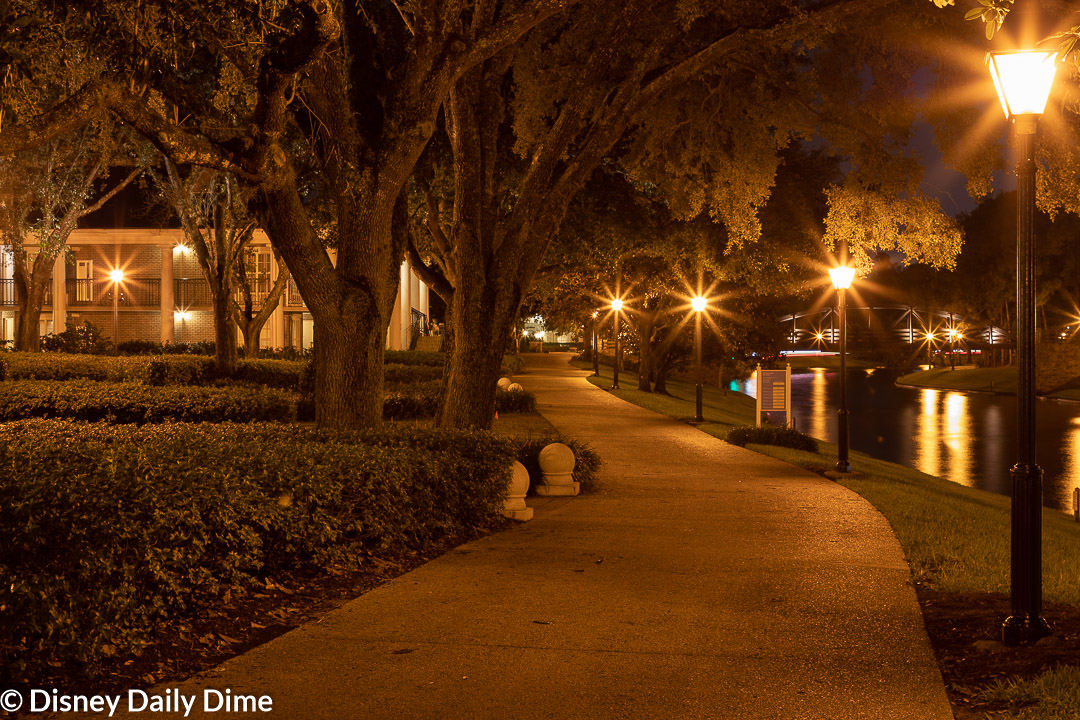 Night time photo of Port Orleans Riverside.