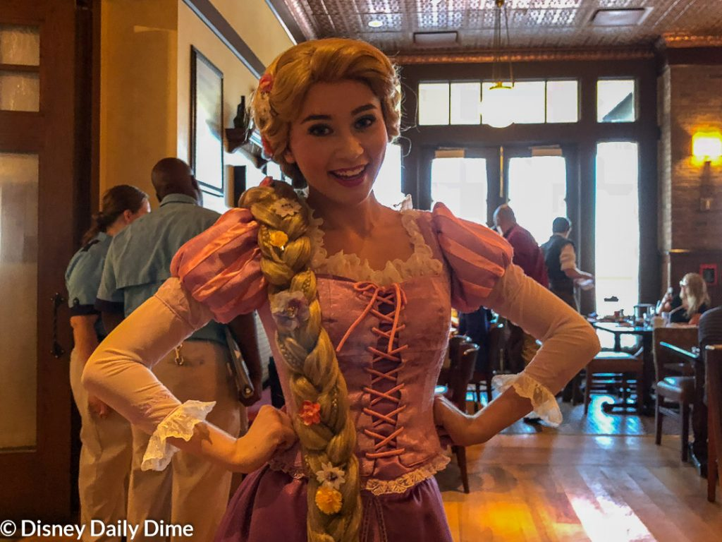 Picture of Rapunzel at the Bon Voyage Adventure Breakfast at Disney World.