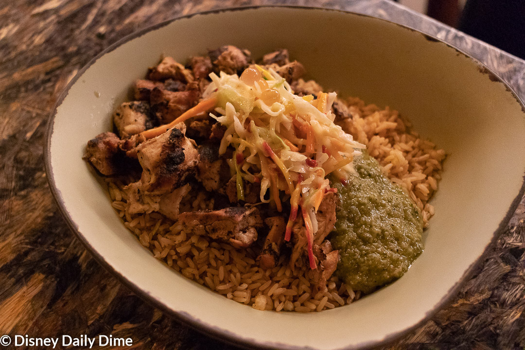 In My Bowl I Got Chicken As My Protein A Base Of The Whole Grains And Rice And Finally The Charred Green Onion Vinaigrette Sauce
