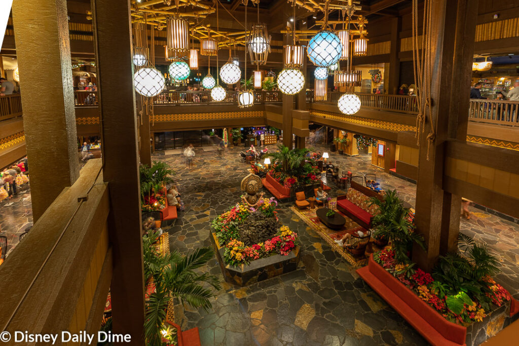 The lobby of the Polynesian Village Resort captures you.