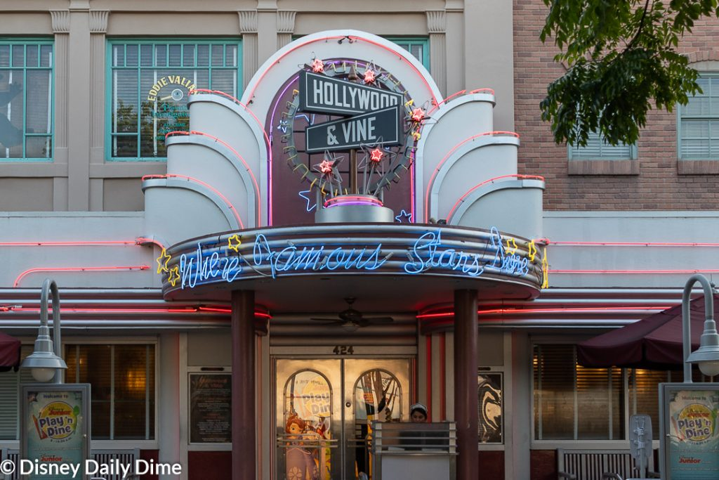 Exterior shot of Hollywood & Vine, where the Disney Junior Play 'n Dine takes place.