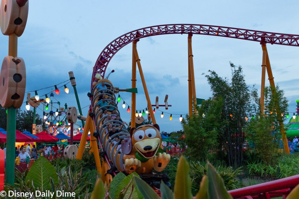 Evening picture of Slinky Dog Dash at Hollywood Studios.