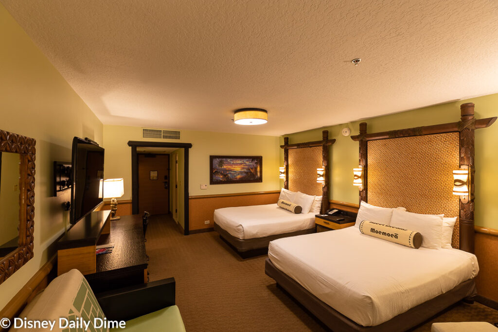 A view of the Polynesian Village resort rooms.