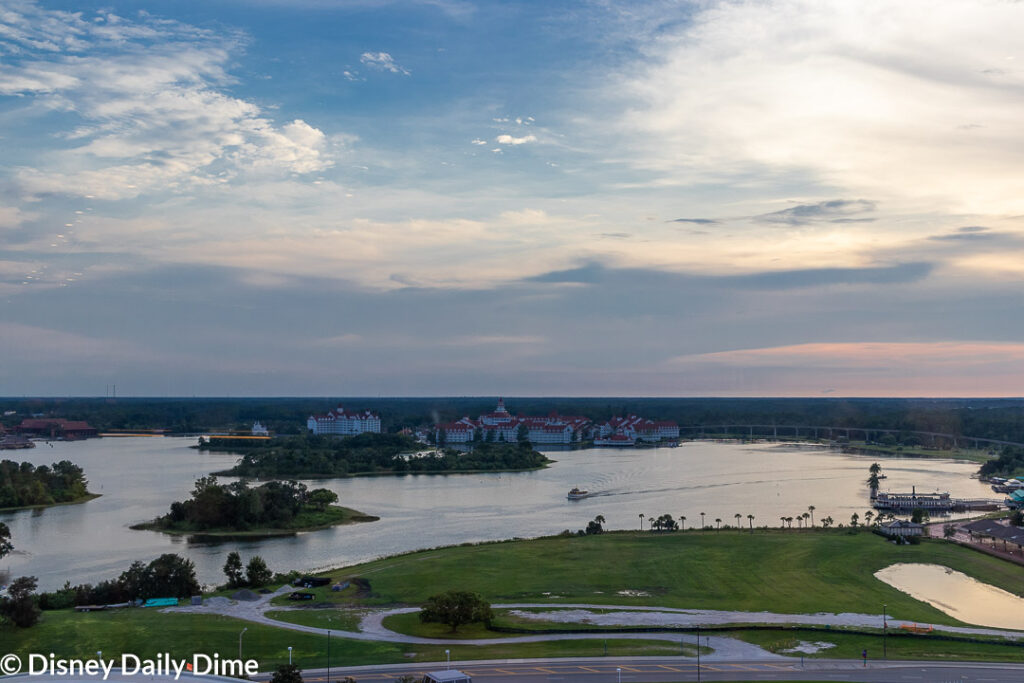 Picture from California Grill looking out over the Grand Floridian hotel.