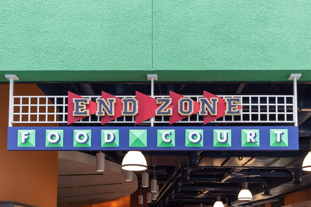At Disney's All Star Sports your dining option is limited to the End Zone Food Court.