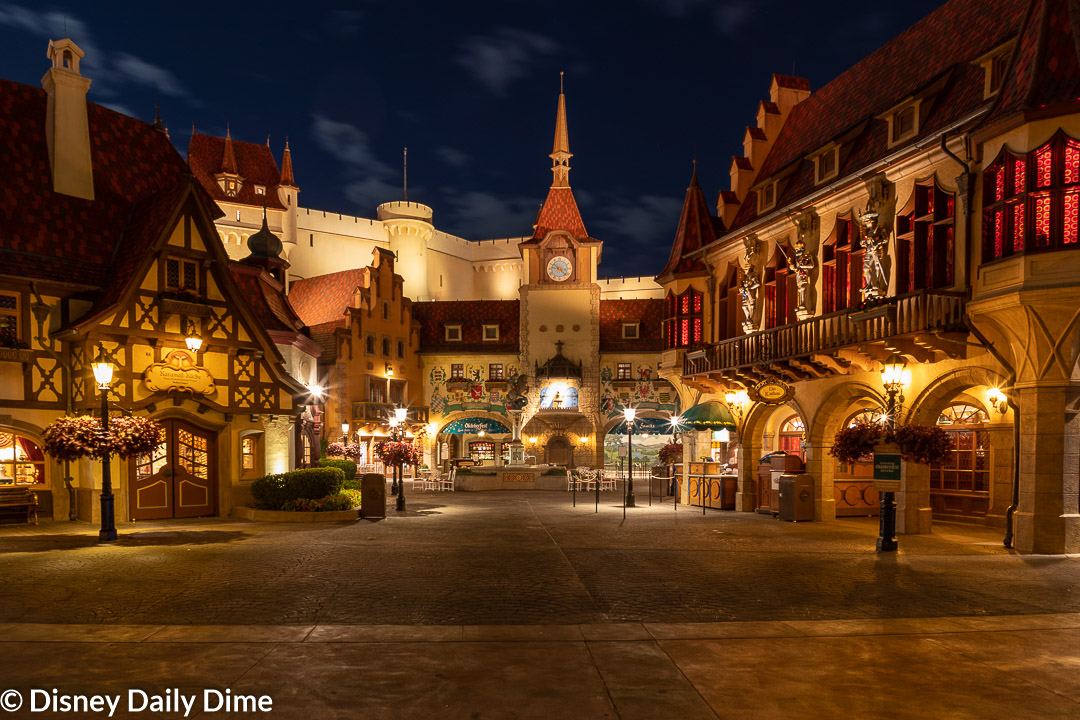 Pictuire of the Germany pavilion in Epcot's World Showcase at night.