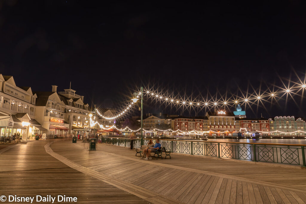 The best part of our Disney's BoardWalk Inn Review is the experience you can have along the boardwalk at night.