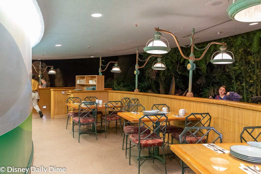 The seating at Garden Grill is in a circle, with two tiers of seating.
