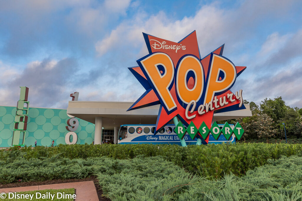 The large Pop Century sign greets news ariving vistors.