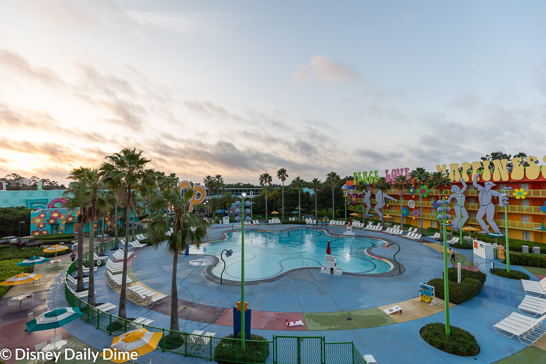 The Hippy Dippy Pool at Pop Century Resort is the main resort pool and has considerably more activity at it.