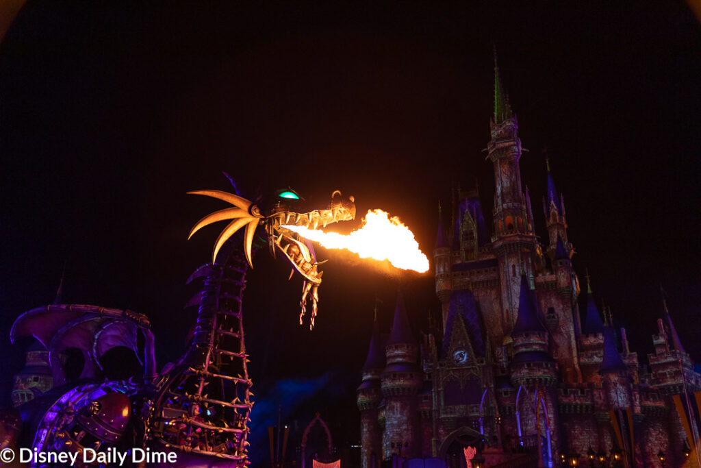 This is the first event where Maleficent is on display at night in the Magic Kingdom
