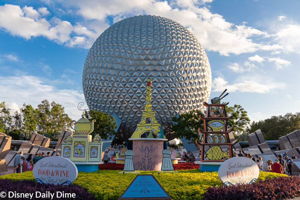 Spaceship Earth welcomes you to the entance of Epcot and the Food & Wine Festival.