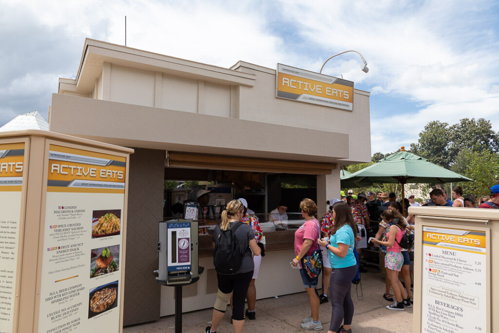 "The Active Eats booth at the Epcot Food and Wine Festival can be found in the ""Next Eats"" section of booths."