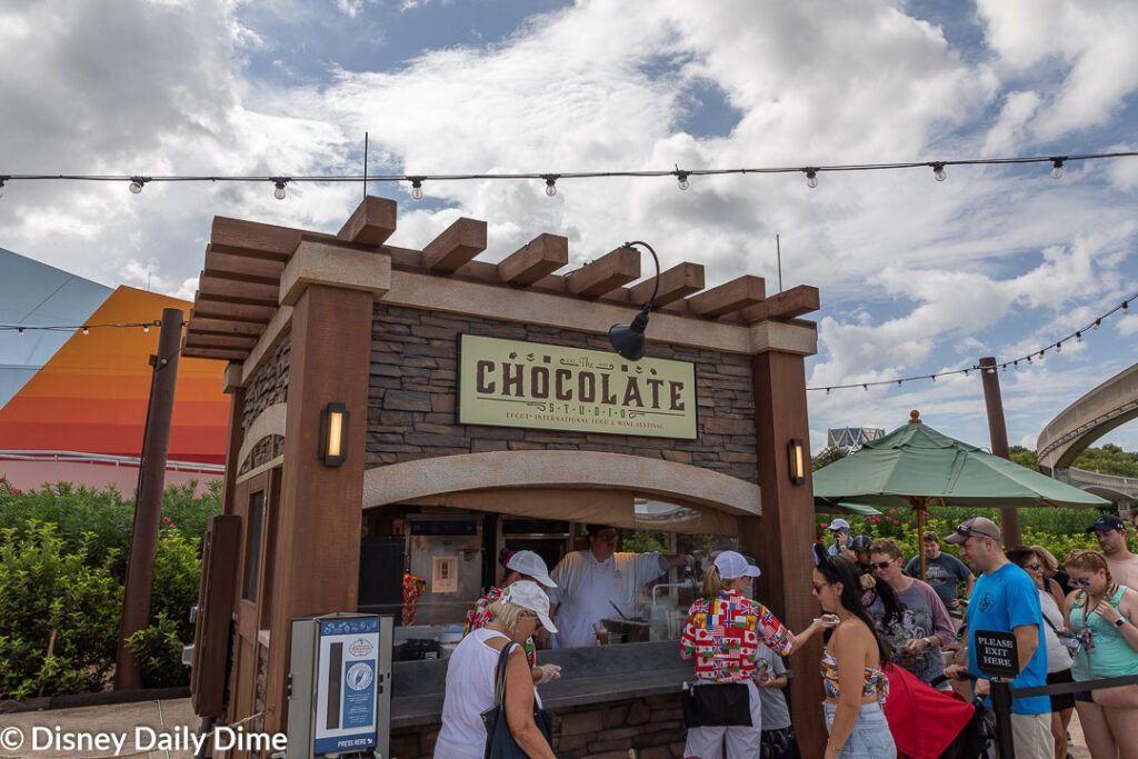 The Chocolate Studio is one of our favorite booths of the Epcot Food & Wine Festival.