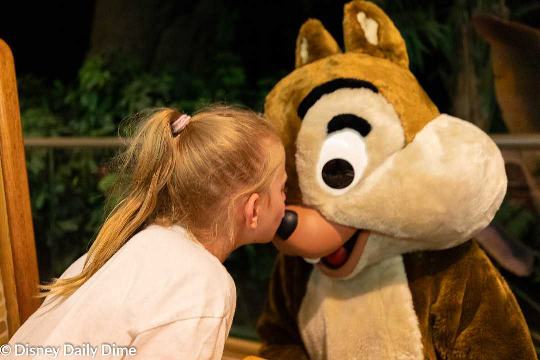 Chip nuzzles up with Elsa during our Garden Grill dinner review.