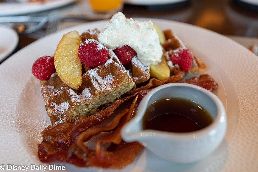 If you get only one entree at Topolino's Terrace Character Breakfast, we think the Sour Cream Waffles must be it!