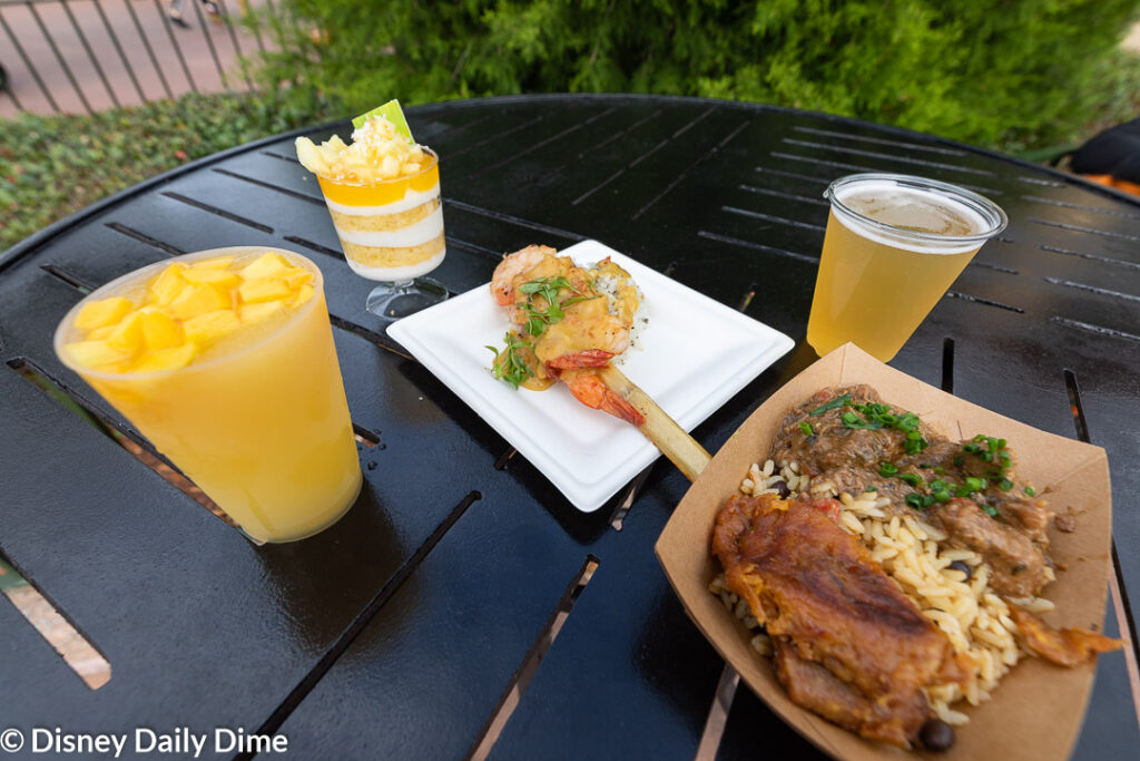 The La Isla Fresca outdoor kitchen at the Epcot Flower & Garden Festival features Caribbean flavors.