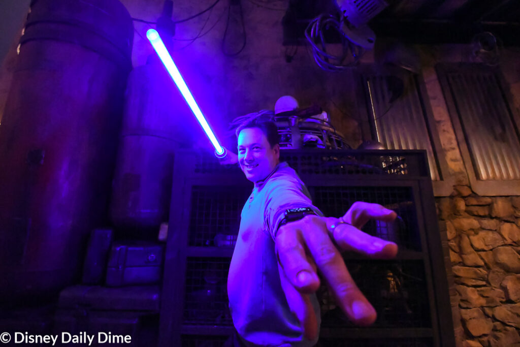 To build a lightsaber at Disney World you need to go to Galaxy's Edge in Hollywood Studios. Look for Savi's Workshop.