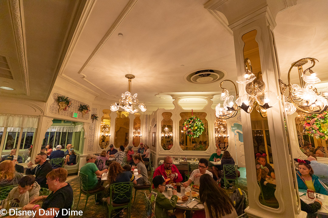 The interior decor of The Plaza Restaurant at Disney World has a Victorian feel that we enjoyed.