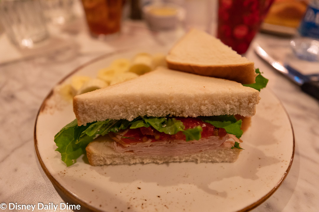 When it comes to dinner at The Plaza Restaurant at Disney World, the kid's menu has several great options, like this turkey sandwich.