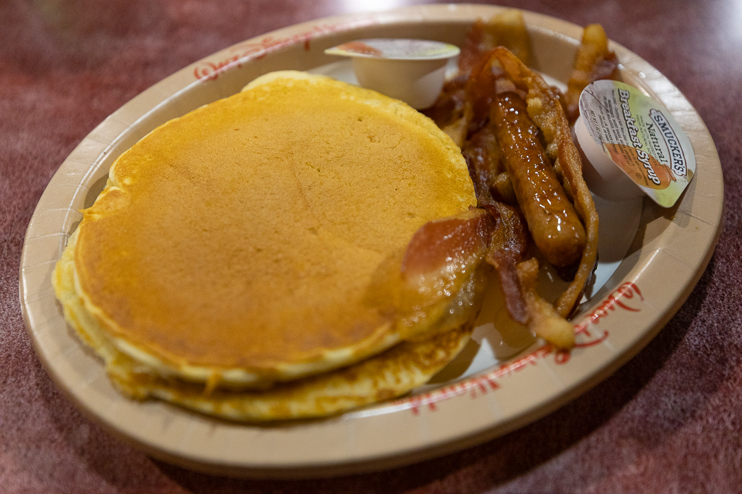 The vanilla pancakes were the best or second best think we ate for breakfast as part of our World Premiere Food Court review.